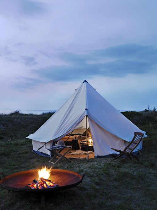 Tent and fire
