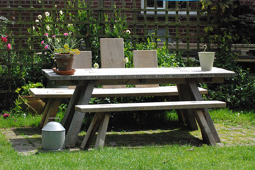 Marnie Moyle Green Oak Bench and Table