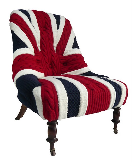 union jack cable knit chair