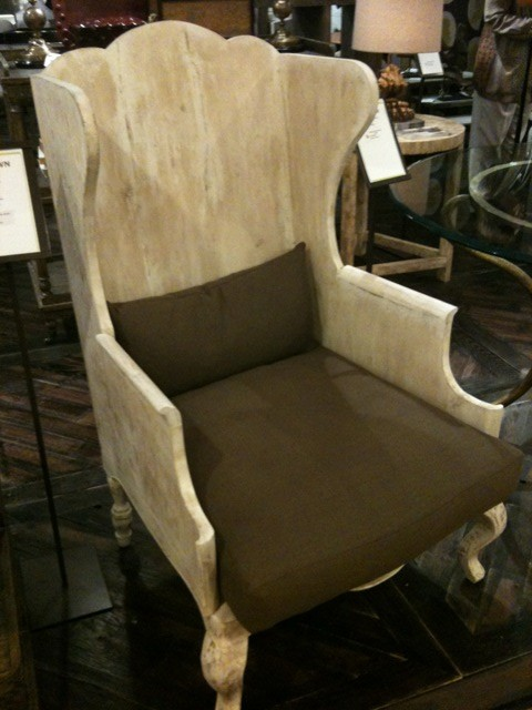 wooden wing chair