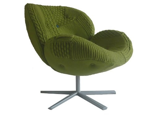 green cable knit chair