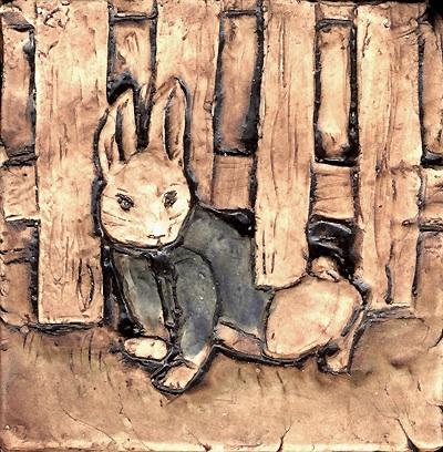 "4""x4""Peter Rabbit & fence Beatrix Potter"