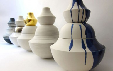 Vases by Nadia Pignatone in white, blue and gold