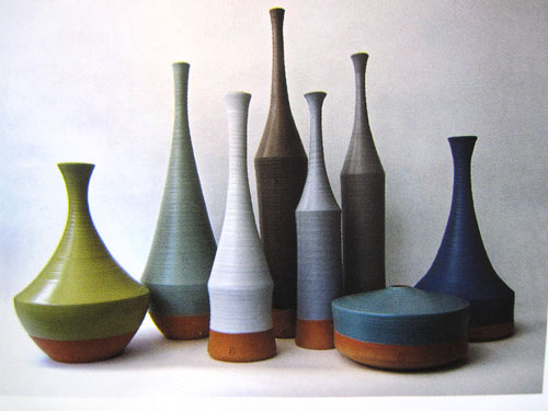 morandi mood pottery in blues and greens
