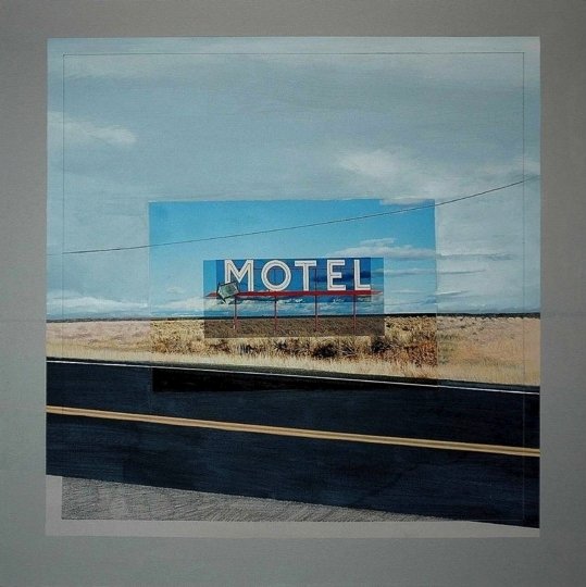 "Abandoned Motel Sign Coulee City, Washington Mixed Media, 36"" x 36"""