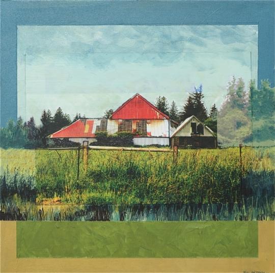 "Abandoned Red Roof Barn Nemah, Oregon Mixed Media, 12"" x 12"""