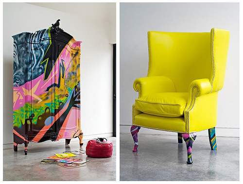 spray-paint-chest and chair by Graffiti Kings