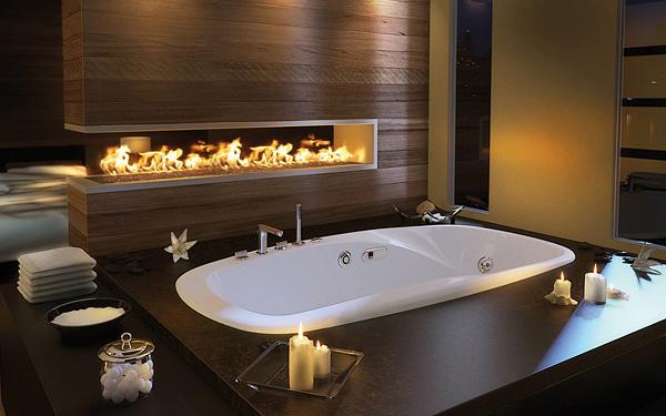 luxurious bathtub by open fireplace modern