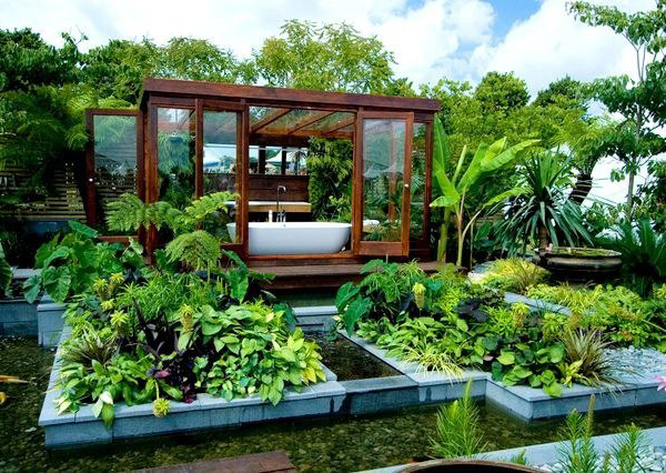 outdoor bathroom architecture surrounded by green oasis