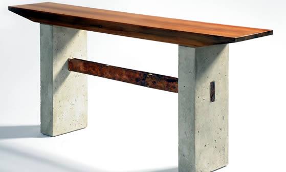 douglas thayer concrete copper and wood console