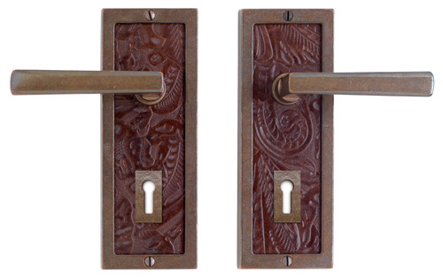 cast bronze and leather doorhandles by rocky mountain hardware
