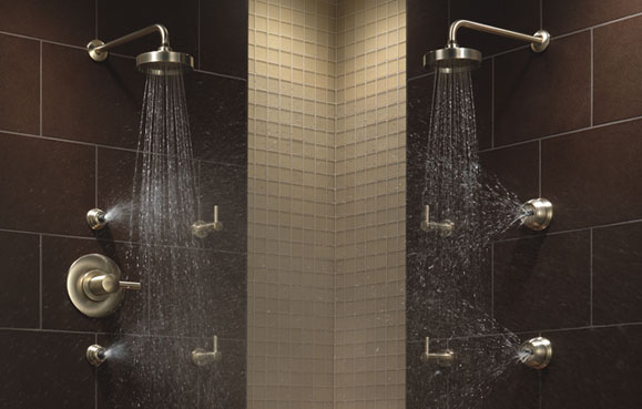Brizo shower dual shower heads and wall fixtures