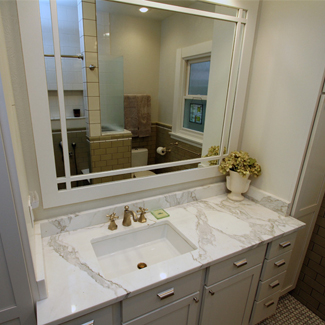 Before And After Focus On Detail In This Mission Style Bath Remodel Craftsman Bathrooms Bathroom Vanities Mirror