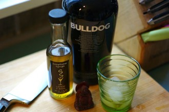 Bulldog gin and lemon basil syrup for cocktail