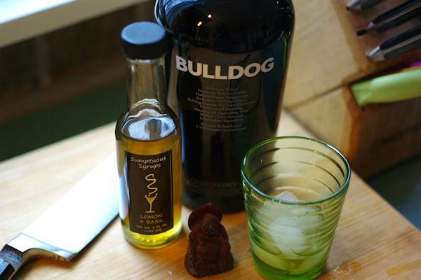 Bulldog gin and lemon basil syrup for cocktail