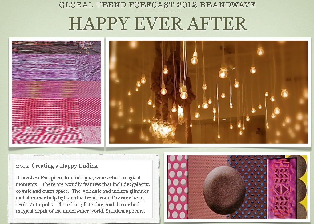 global trend forecast for interior design by Theresa strickland at brandwave pinks and lighting