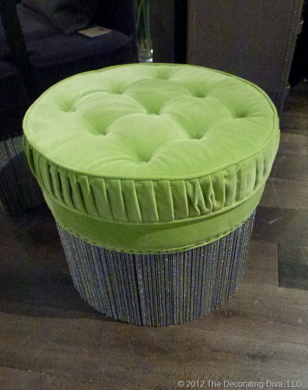 Kelly Hoppen's green upholstered pouf