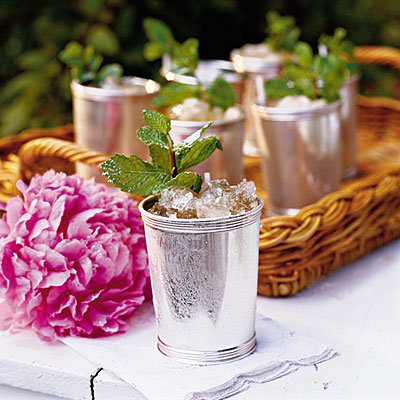 mint julep with pink hydrangea