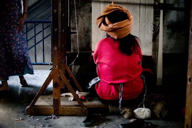 woman on loom - Nepal