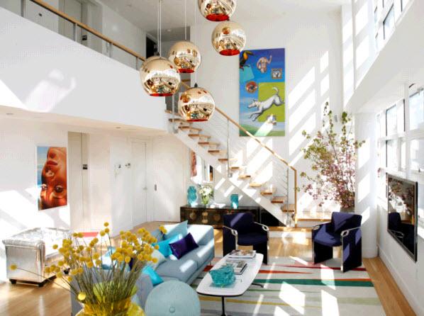 home by novogratz, review, interior design, HGTV, bold color, lighting, living room