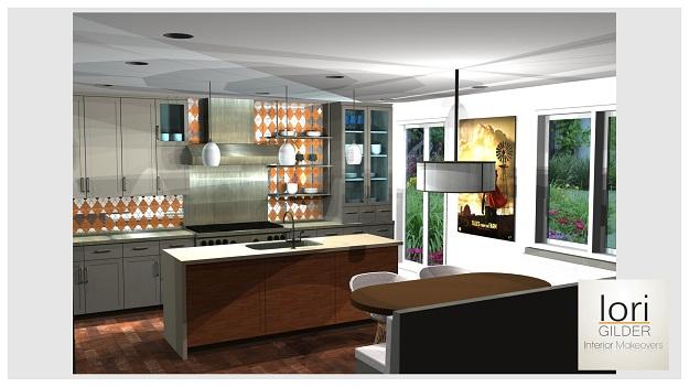 Lori Gilder beverly hills kitchen design rendering