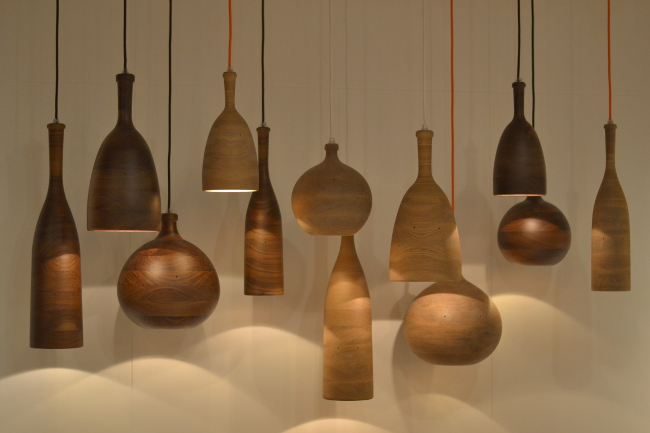 Samuel Chan's company Channel presented these wooden pendants