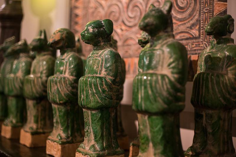 Chinese zodiac figures in jade green glaze
