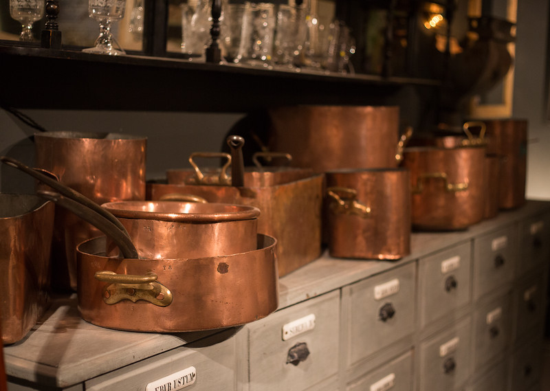copper pots and pans at Lorford's Tetbury
