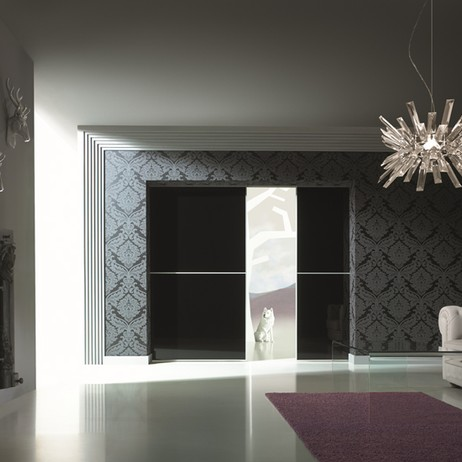 Black Glass Room Divider by The Door Expo