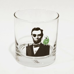 """pirate Lincoln"" Rocks Glass by Paste + Jason Laurits"