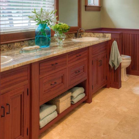 Sapele Double Vanity by Crown Point Cabinetry