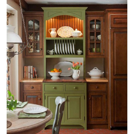Bayberry Green Milk Painted Hutch by Crown Point Cabinetry