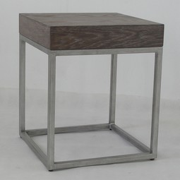 Alexander Cube Table-Oak/Silver by Studio A