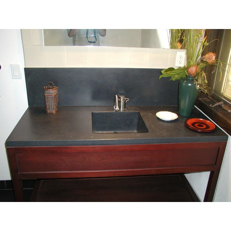Vanity w/Integral sink & backsplash by Concreteworks East Studio