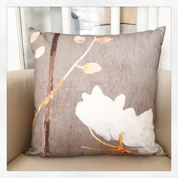 Throw Pillow:  Big White Flower on Medium Grey by India & Purry