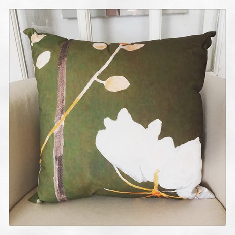 Throw Pillow:  Big White Flower on Green by India & Purry