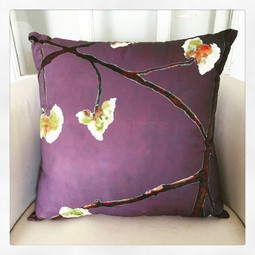 Throw Pillow:  White Flowers on Purple by India & Purry