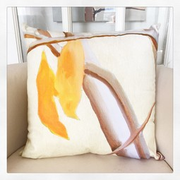 Throw Pillow:  Orange Flowers on Ecru by India & Purry