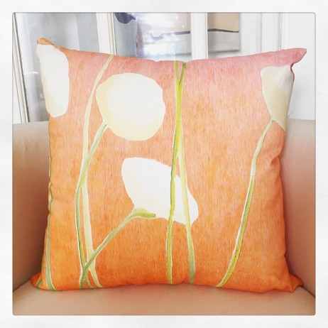 Throw Pillow:  Cream Flowers on Orange by India & Purry