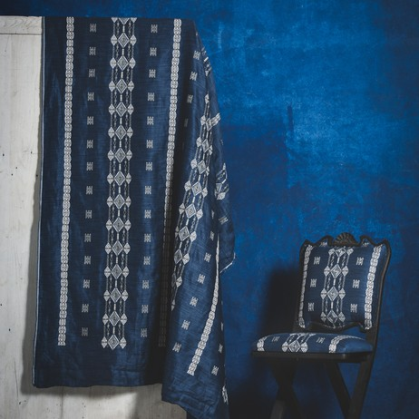 Berber Indigo Embroidered Fabric by Coral & Tusk