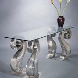 Scroll Leg Table With Glass Top by Salmon Studios