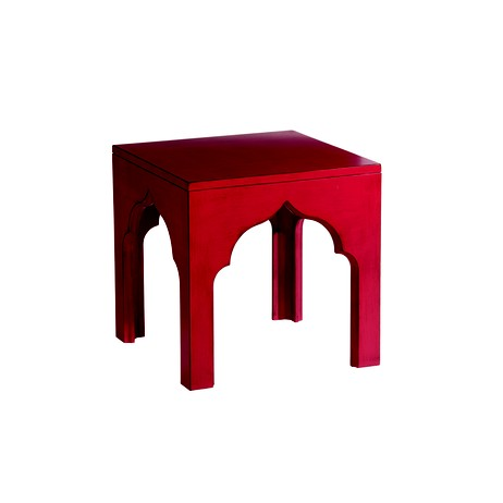 raspberry moroccan accent table by Ethan Allen