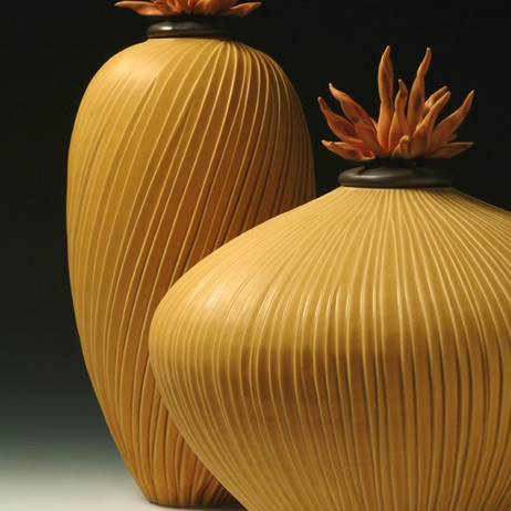 Yellow Vessel Pair with Urchin Lids by Natalie Blake Studios