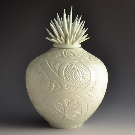 Porcelain Celadon Abstract Carved Vessel by Natalie Blake Studios