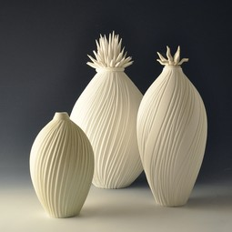 Porcelain White on White Vessel Trio by Natalie Blake Studios