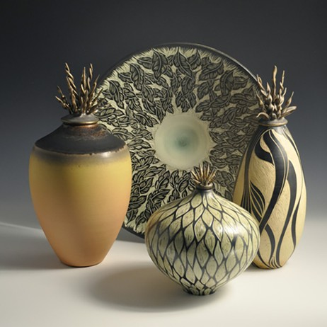 Quartet Sophia and Sgraffito Leaf Platter and 2 Vessels by Natalie Blake Studios