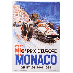 Monaco 1963 Poster by MAN of the WORLD