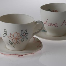 Embroidered tea cups by Claire Cole Design