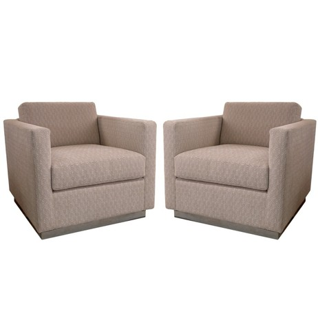 PAIR OF MILO BAUGHMAN CUBE CHAIRS by Irwin Feld Design