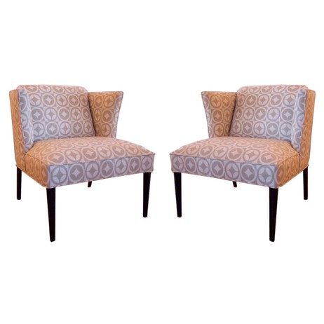 PAIR OF MCM WINGED BACK CHAIRS by Irwin Feld Design